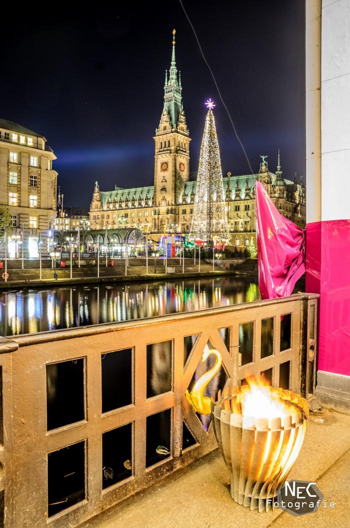 Hamburger Rathaus am Jungfernstieg bei Nacht zu Weihnachten