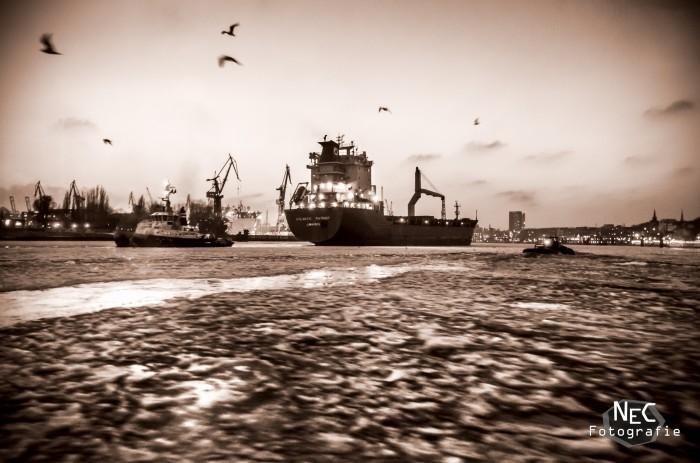 Vereister Hamburger Hafen